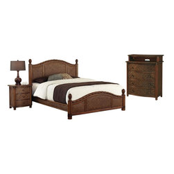 HomeStyles - Queen Bed, Night Stand and Media Chest - Design features natural rattan woven wicker and mahogany solids. Refined cinnamon finish. Headboard and footboard contain interior padding for additional comfort. Leather-wrapped accents. Bed: 65.25 in. W x 89 in. D x 53 in. H. Night Stand: 21.25 in. W x 17.75 in. D x 24.75 in. H. Media Chest: 36 in. W x 18 in. D x 42 in. HMarco Island Queen Bed, Night Stand, and Media Chest by Home Styles is island inspired displaying a rich blend of materials including natural rattan woven wicker, mahogany solids, and veneers in a refined cinnamon finish.  The design encompasses a twisted rattan edging on the Queen Headboard and Footboard, with intricate natural woven rattan panels on all four sides, solid mahogany bed posts and beautifully carved pineapple finials. The footboard adorns leather strapping accents around the solid mahogany posts. This is a complete Queen bed including headboard, footboard, and rails. Headboard and footboard contains interior padding for additional comfort. The night stand features three large storage drawers. Media chest features four large storage drawers; top drawer is felt-lined, and cable accessibility. All drawers have easy-glide side mounted metal guides. Matching sculpted palm mahogany hardware. Set includes bed, night stand, and media chest. Assembly required.