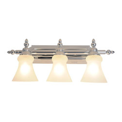 Premier - Three Light 24.75 inch Vanity Fixture - Polished Chrome - Premier 563120 24-3/4in. W by 9-1/2in. H Decorative Vanity Fixture, Polished Brass, projects 7in.