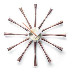 George Nelson Spindle Clock by Vitra - I've had a hankering for a sunburst mirror for a while, but this clock does it one better. Designed by George Nelson in the '50s, its style is more timeless (love a good pun) than trendy.