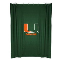 Sports Coverage - NCAA Miami Hurricanes College Bathroom Accent Shower Curtain - Features: