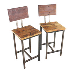 what WE make - reclaimed wood bar stools (set of 2) - . reclaimed barn wood