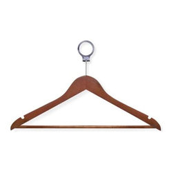 24-Pack Cherry Hotel Suit Hangers - Honey-Can-Do HNG-01734 24-Pack Wood Suit Hotel Hanger, Cherry Finish. Beautiful, wooden clothes hanger has a contemporary design perfect for keeping shirts, dresses, and jackets wrinkle-free. Hotel style circular bar hook stays put when installed on any standard closet bar. These hangers also work great on rolling garment racks, keeping hangers and clothes in place. When needed, hangers easily detach from the circular hook. A gorgeous upgrade for any closet space.