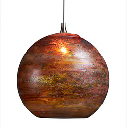 Fireball Glass Pendant Light, Red Multi