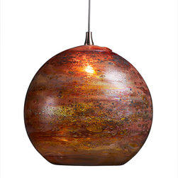 Shakuff - Fireball Glass Pendant Light, Red Multi - Mars-like and magical, this pendant makes an inspiring ceiling centerpiece. A fiery globe of hand-blown glass brings a rich, glowing warmth to your favorite setting.