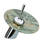 """Renovators Supply - Faucets Chrome Waterfall Faucet 7"""" H Forest Floor Disk - Single Hole Waterfall Faucets: Perfect for recessed & above counter sinks. Solid brass construction with a tarnish resistant  chrome-plated finish.  Top rated high quality internal cartridge tested to last  500,000 cycles.  Features a modern solid brass joystick style handle. Comes complete with  supply lines & mounting hardware.  Purchase additional round glass or ceramic disks to change your faucet look! Overall height is 7 inches."""