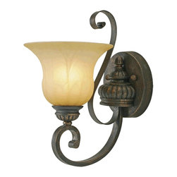 Golden Lighting - Mayfair 1-Light Wall Sconce - Bulb not included. Required one 100 watt incandescent type A medium base bulb. Traditional style. Cream brulee glass shade. Provides widespread ambient lighting. One E27 socket. Electric wire gage: 3321 18# 150 degree. UL approved for damp locations. Made from metal and poly resin. Leather crackle color. Wire length: 8 in.. Glass: 7.5 in. Dia. x 5.25 in. H. Backplate: 5.87 in. Dia.. Backplate extension: 0.75 in.. Fixture extension: 10.5 in.. Overall: 7.5 in. W x 13.5 in. H (3.97 lbs.). WarrantyCompliments casual, mediterranean and eclectic decor. Popularly used in halls, stairways, entries and as an accent.