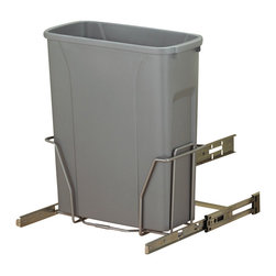 """KV Kitchen & Bath Storage - Slide-Out Waste & Recycling Bin/Non-Lidded in Frosted Nickel - Slide-Out Waste . Recycling Center/Non-Lidded.  1 - 20 qt. Bin.  Fits 15"""" (38. 1cm) min. wide opening.   Plastic Component Finish-Platinum.  Metal Component Finish-Frosted Nickel. 14.9 in. W x 7.25 in. D x 16 in. H"""