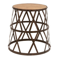 Benzara - Vintage Inspire Metal Wood Stool 18in.H, 14in.W - Size: 14 Wide x 14 Depth x 18 High (Inches)