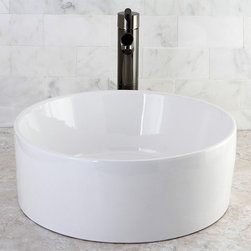 None - Park Vessel White China Sink - An alternative to more traditional oval and square sinks,this contemporary,circular china Vessel sink looks heavenly in any home lavatory. Great when you want to avoid sharp angles in your remodeling,it has an air of tempered strength.