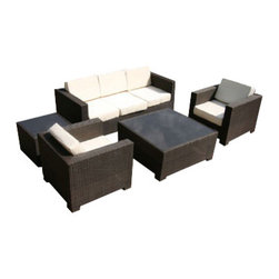 MangoHome - Outdoor Patio Sofa Sectional Wicker Furniture 5pc Resin Couch Set - Outdoor Patio Sofa Sectional Wicker Furniture 5pc Resin Couch Set