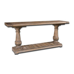 Silver Nest - Aiden Console Table - Solidly constructed of salvaged fir lumber and hand turned balusters. Sun faded and distressed patina is finished with a stony gray wash.