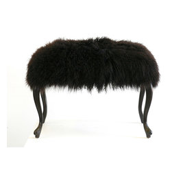 "Footstools - ""Larry"" is a vintage bench / ottoman upholstered with Mongolian lamb fur. Photo by Wild Chairy"