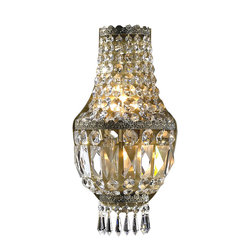 """Worldwide Lighting - Metropolitan 3-Light Antique Bronze Finish Crystal ADA 8"""" W Wall Sconce Light - This stunning 3-light wall sconce only uses the best quality material and workmanship ensuring a beautiful heirloom quality piece. Featuring a radiant antique bronze finish and finely cut premium grade crystals with a lead content of 30%, this elegant wall sconce will give any room sparkle and glamour."""