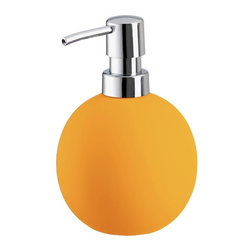 Colorful Round Non Skid Countertop Soap Dispenser - 15oz, Orange - Colorful round non skid countertop soap dispenser is perfect for any bathroom or even next to the kitchen sink. Beautiful porcelain soap dispenser with a grippy non slip coating holds 15oz of lotion or soap with a shiny chrome pump. Made in Germany.