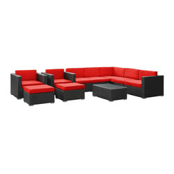 Modway Furniture - Modway Avia 10 Piece Sectional Set in Espresso Red - 10 Piece Sectional Set in Espresso Red belongs to Avia Collection by Modway Surround yourself with a modern landing pad of exploration. Positioned to advance your outdoor patio, backyard, or pool area, Avia helps you bestow acceleration to your outward achievements and social celebrations. Set Includes: One - Avia Outdoor Wicker Patio Coffee Table One - Avia Outdoor Wicker Patio Left Arm Section One - Avia Outdoor Wicker Patio Right Arm Section Three - Avia Outdoor Wicker Patio Armless Sections Two - Avia Outdoor Wicker Patio Armchairs Two - Avia Outdoor Wicker Patio Ottomans Coffee Table (1), Left Arm Section (1), Right Arm Section (1), Armless Section (3), Armchair (2), Ottoman (2)