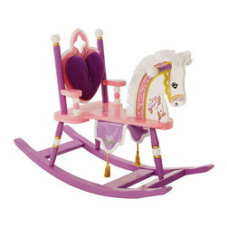 Levels of Discovery - Kiddie-Ups Princess Rocking Horse - Give your little queen the perfect throne with this pretty princess rocking horse from Kiddie-Ups. It features a padded backrest for comfort, a silky mane for riding the range, and a royal banner with tassels that will complement any girls room.