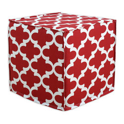 """Chooty - Chooty Fynn Timberwolf Collection 17"""" Square Seamed Foam Ottoman - Insert 100 High Density Foam, Fabric Content 100 Cotton, Color Red, Cream , Hassock 1"""
