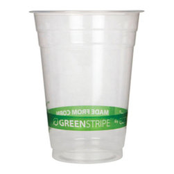 "ECO PRODUCTS - C-12 OZ CORN CUP W/GREENSTRIPE ECO 20/50 - Green Stripe™ Cold Cups are the green cups of choice. As strong and durable as their traditional plastic counterparts, Green Stripe™ Cold Cups provide a renewable way for you to save resources without compromising performance. Cups come with a stylish green design so the ""made from corn"" message is clear. Certified compostable by BPI.. . . . . 12-oz. 50 20 1,000. . . Green Stripe™ Renewable Resource Compostable Cold Cups. Dimensions: Height: 1, Length: 0.1, Width: 1. Country of Origin: TW   CAT: Foodservice Cups/Lids Translucent Plastic & Combos"