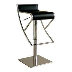 Adjustable Black Leather Bar stool - Sl k and stylish this bar stool has it all. It features full 360 degr s swivel and hydraulic height adjustability. With black bonded leather seating and highly polished steel frame, it is well built and durable. The angular design ofeethe foot rest gives this stool a modern look and also provides ample room for your feet to sit.