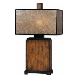 Uttermost - Uttermost 26757-1  Sitka Wood Table Lamp - Solid wood finished in a heavily distressed rustic mahogany with a light rottenstone glaze and aged black details. the rectangle box shade is made of natural mica with aged black trim.