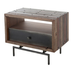 Marco Polo Imports - Parker Banksy Side Table - This elegant side combines the rustic charm of natural wood with contemporary designs, giving new life to salvaged wood. Each piece has a hand-crafted, singular look, ensuring its uniqueness.