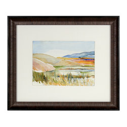 "Lost Art Salon - ""Marsh at Quarry Cove, Pacifica, CA"" - Entitled ""Marsh at Quarry Cove, Pacifica, CA"" this late 20th century landscape is by Bay Area artist Alysanne McGaffey (1931- ). McGaffey was part of the Bay Area Figurative Movement of the late 1950s and early 60s while studying at the San Francisco Art Institute. She has had numerous solo and group exhibitions throughout her career and still holds offices in several art organizations including the Coastal Arts League and the Peninsula Chapter of Women's Caucus for Art. She continues to paint watercolors of the Pacific seashore in her Pacifica studio. Signed lower right. Framed in a dark brown contemporary wood frame with veneer using spacers, archival matting and conservation glass."