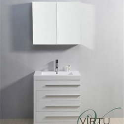 "Virtu USA - Virtu USA 30"" Bailey Single Sink Bathroom Vanity with Polymarble Countertop - Gl - Designed with a smaller bathroom in mind, this vanity is by no means short of excellence. With a gorgeous finish and a high-gloss polymarble basin, this vanity combines both the element of design, with practicality. Featuring four large drawers on soft closing slides, the Bailey will be sure to hold all of your bathroom essentials while looking magnificent at the same time.Virtu USA has taken the initiative by changing the vanity industry and adding soft closing doors and drawers to their entire product line. By doing so, it will give their customers benefits ranging from safety, health, and the vanity's reliability.FeaturesMain cabinet: 29.1"" W x 19.2"" D x 32.8"" HMirror/Medicine cabinet: 31.5"" W x 6"" D x 27.6"" HMaintenance-free high gloss polymarble countertop with integrated basinGloss white finishWater resistant low V.O.C sealerPlywood and Composite with MelamineAdjustable slidesMain cabinet: 4 Drawers with soft closing slidesMirror/Medicine cabinet: 2 Doors with BLUM' soft closing hingesSatin Nickel HardwarePre-drilled single hole faucet mountMinimal assembly requiredPS-103 Faucet with Pop Up and Drain Assemblies Included CUPC, UPC and IAPMO Certified Faucet with Limited Lifetime Warranty Lead-Free Faucet Compliant with AB1953 and S152 Eco-Friendly WaterSense Certified 1.5 GPM flow rateHow to handle your counterView Spec Sheet"