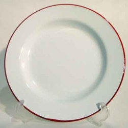 "Enamelware 10"" Dinner Plate, Vintage White with Red Rim - These vintage white enamelware plates with red rims are perfect for outdoor entertaining, picnics or camping."