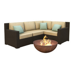 Forever Patio - Hampton 4 Piece Modern Outdoor Sectional Sofa, Chocolate Wicker and Tan Cushions - The 4 Piece Hampton Modern Sectional Set by Forever Patio with Tan Sunbrella cushions (FP-HAM-4SEC-CH-BE) sports the latest modern wicker design while providing an incredibly luxurious outdoor seating experience. The set seats 4 adults comfortably, and includes a left arm, right arm, middle and corner section. This set features Chocolate wicker, which is made from High-Density Polyethylene (HDPE) for outdoor use. Every strand of this wicker is infused with the rich color and UV-inhibitors that prevent cracking, chipping and fading ordinarily caused by sunlight. Each piece features thick-gauged, powder-coated aluminum frames that make the set extremely durable and resistant to corrosion. Also included with the set are cushions covered in fade- and mildew-resistant Sunbrella fabric, available in a wide selection of colors. The seating is generously sized and the back cushions are overstuffed, providing unmatched outdoor comfort.