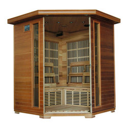 "Blue Wave - Blue Wave 4 Person Cedar Corner Carbon Sauna - Whistler - 4 person cedar infrared sauna with carbon heaters - corner unit the whistler 4 person cedar corner infrared sauna is perfect for relaxing and rejuvenating. It fits conveniently into the corner of the room, and the natural Canadian red cedar wood will enhance any decor. Its dual interior and exterior led control panels allow for easy temperature control. Whistler is available with carbon heaters, and is loaded with tons of extras, including towel hooks and magazine rack, cd player with mp3 plug-in, back rests, color therapy light and an oxygen ionizer. The whistler is perfect for basking in the warmth with your family or friends - add one to your home today! heaters 10 carbon heaters - other inferior sauna brands have only 5 heaters or less. More heaters means your heatwave infrared sauna; is more effective! location - the whistler corner carbon sauna has 3 carbon heaters on the left back wall, 3 on the right back wall, 2 on the front of the bench and 2 on the floor. These 10 carbon heaters evenly bask you in soothing infrared heat. Infrared wavelength - heatwave saunas; put out far infrared wavelengths from 5-12 microns, which are the portions of infrared heat that most benefit the human body. Operating temperature - heatwave saunas; operate up to 141 degrees f. 2,120 watts - see power distribution diagram for individual heater locations and wattages. Wood and construction heatwave saunas; are made of solid Canadian red cedar and are constructed with tongue and groove assembly. The exterior of the sauna is stained with an appealing, natural color; the interior is smooth sanded natural wood. Power requirements this heatwave sauna; uses 120V/20 amp power. Note: electrical modifications may be required to accommodate 20 amp power. Features control panel heatwave saunas; come equipped with dual easy-touch interior and exterior led control panels - easily adjust your sauna settings from inside or outside. Bronze tinted glass the door and glass panels on heatwave saunas; are made of beautiful, 8Mm thick, bronze tinted tempered glass. The tint provides a bit of privacy and aids in heat retention, while providing the safety of tempered glass. Lighting sauna is equipped with interior and exterior lighting, as well as a color therapy light with remote. Enjoy some reading while basking in the warmth of your heatwave sauna; sound system the whistler comes standard with a radio with cd player and aux mp3 connection with built in speakers, so you can crank up your favorite tunes while soaking up all the health benefits of your sauna! other inferior sauna brands make you pay extra for this option, but every heatwave sauna; comes with a sound system standard. Air vents the adjustable roof vent allows you to open the vent to bring in outside air if desired. Vent holes in the floor help provide air circulation. Color therapy bulb the color therapy bulb allows you to bask in rotating colors, or choose a steady stream of one of the six available colors. Enhances the sauna experience. Other sauna brands offer this as an option for an additional cost, but the color therapy system is included with this heatwave sauna; a $99. 95 value! control panel for color therapy light the color therapy light system is easily controlled with the control panel located inside the sauna. Color therapy adjustments are at your fingertips. Ergonomic back rests the 4 person heatwave saunas; include 4 movable cedar backrests, for ultimate sauna comfort. Back rests can be moved to any desired location, making your sauna session even more comfortable and enjoyable. Oxygen ionizer the included electronic oxygen ionizer releases negative ions, which help purify the air in your sauna, keeping it clean and fresh. The ionizer is an optional feature with many inferior sauna brands, but it's included in this heatwave sauna;! a $49. 95 value! capacity - the whistler will comfortably seat 4 people on the extra deep benches that runs along the back walls of the sauna. Product dimensions - once assembled the whistler sauna measures approximately 59""X59""X75"". See dimension diagram for details. Assembly heatwave saunas; come partially assembled, and to complete assembly you will need 2 people, a screwdriver, a ladder and about an hour. Comprehensive instruction manual is included, and in a very short amount of time your sauna will be ready for use! warranty 5-year warranty on heaters, structure and electrical. 1-year warranty on radio. Certification heatwave saunas; are proudly backed by cetl, which is etl valid in U. S. and Canada. Shipping information shipping weight - 437 # of cartons - 3 shipment dimensions - 78""X74""X31""."