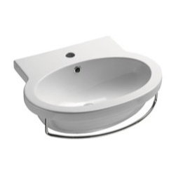 GSI - Stylish Oval Wall Mounted Ceramic Bathroom Sink, No Faucet Holes - This beautiful wall mounted bathroom sink is made out of high quality ceramic with a white finish. Sink includes overflow and the option for no faucet holes, a single hole, or three holes. Made in Italy by GSI.