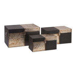 IMAX - Cobb Trunks - Set of 3 - Faux leather embossed with an ostrich pattern is combined with hammered metal and silver nail heads for a trio of trunks that run the checkerboard with a winning storage strategy.