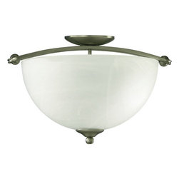Quorum International - Quorum International Q622-17 Three Light Semi-Flush Ceiling Fixture from the Hem - *Hemisphere Semi FlushHemisphere is for the stylish modern interior where tranquility is paramount, for who doesn�t long for an oasis of calm at the end of a busy day? Hemisphere is equally at home in a contemporary loft with exposed brick walls or a traditional home with clean lines. Old World finish with Iced Etruscan glass and Satin Nickel finishes with Faux Alabaster half-spherical glass shades.Bulbs: (3) 60W Medium