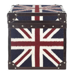 Safavieh - Britannia Trunk ACS6503A - A striking conversation piece, this steamer trunk table pays homage to the Union Jack with its classic motif printed on sturdy hemp fabric. Accented with classic leather trim and finished with pewter rivets, the Britannia Trunk can be used as an end table or try two side by side as a cocktail table.