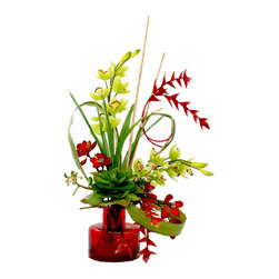Inspired Living - Red and Green Orchid Arrangement with Bamboo in Red Glass Vase - This is a unique arrangement with various red and green orchids with bamboo in an interesting red glass vase.