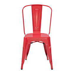 "Crosley - Amelia Metal Cafe Chair-Red (set of 2) - Dimensions: 17"" W x 20-1/2"" D x 34"" H"