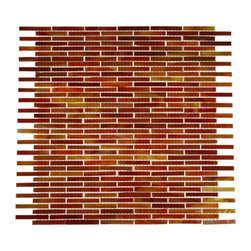 "Matchstix Twilight Glass Tile - Matchstix Twilight Glass Tile This stunning mosaic is handcrafted in Smalti glass. With its shades of red and an iridescent coating, this will give a luminescent quality to any bathrom, kitchen or pool installation. Add a pop to any room with these beautiful tiles that are versatile. Chip Size: 1/4""x2"" Color: Shades of Red and Orange with Iridescent Coating Material: Glass Finish: Dimpled Sold by the Sheet - each sheet measures 12"" x 12"" (1 sq. ft.) Thickness: 1mm Please note each lot will vary from the next."