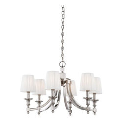Metropolitan - Metropolitan N6802-613 Continental Classics 6 Light 1 Tier Chandelier - Metropolitan N6802-613 Six Light Continental Classics Single Tier ChandelierClassic softly curled arms and beveled candelabra style lights with timeless pleated white fabric shades are enhanced by a modern Polished Nickel finish and squared off cross section. Featuring the best of classic design with modern sensibilities, this transitional six light single tier chandelier will enhance the look of any home.Metropolitan N6802-613 Features: