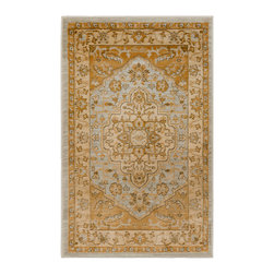 """Safavieh - Shakir Rug, Light Grey / Gold 2'6"""" X 4' - Construction Method: Power Loomed. Country of Origin: Turkey. Care Instructions: Vacuum Regularly To Prevent Dust And Crumbs From Settling Into The Roots Of The Fibers. Avoid Direct And Continuous Exposure To Sunlight. Use Rug Protectors Under The Legs Of Heavy Furniture To Avoid Flattening Piles. Do Not Pull Loose Ends; Clip Them With Scissors To Remove. Turn Carpet Occasionally To Equalize Wear. Remove Spills Immediately. The dramatic patterns of heirloom Serape, Sultanabad and Oushak rugs are recreated for 21st century lifestyles in the Austin Collection. Power-loomed of long-wearing, easy-care polypropylene, each rug stands up to heavy traffic while adding timeless beauty to entry hall, living room, kitchen and more."""