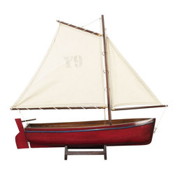 "Inviting Home - Madeira Y9 Yacht Model (red) - Red Madeira Y9 yacht model; 17-3/4""L x 3-3/8""W x 16-3/8""H Lateen rigged they recall a sunny day on a Portuguese beach. Madeira yacht model is colorful and hand-carved from a solid block of wood. This yacht model has slightly antique finis and is perfect for nautical home decor. Available in 3 colors * some assembly required"
