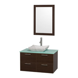 Wyndham Collection - 21.5 in. Wall Mounted Vanity Set in Espresso Finish - Includes mirror, drain assemblies and P-traps for easy assembly. Faucet not included. Modern clean lines. Eight stage preparation. Veneering and finishing process. Highly water resistant low V.O.C. sealed finish. Unique and striking contemporary design. Deep doweled drawers. Fully extending soft close drawer slides. Soft close door hinges. Single hole faucet mount. Two functional doors. Two functional drawers. Plenty of storage space. Green glass top. Carrera marble sink. Engineered for durability and to prevent warping and last for lifetime. 0.75 in. thickness mirror. Made from highest quality grade E1 MDF. Metal exterior hardware with brushed chrome finish. Minimal assembly required. Mirror: 23.75 in. W x 33 in. H. Vanity: 36 in. W x 21.5 in. D x 20.25 in. H. Care Instructions. Assembly Instructions - Sink. Assembly Instructions - MirrorTruly elegant design aesthetic meet affordability in the Wyndham Collection Amare Vanity. The attention to detail on this elegant contemporary vanity is unrivalled.