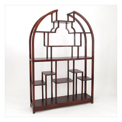 "Wayborn - Wayborn Etagere 48"" Display Unit in Dark Brown - Wayborn - Bookcases - 5699 - This classic wooden display unit is the perfect piece for family rooms living rooms or bedrooms. Featuring a semicircle theme this display unit has many multi - sized compartments for displaying photographs, figurines and trinkets. This beautiful wooden display unit is hand crafted and sure to add that little bit of flair to tie your space together."