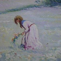 E. Joseph Fontaine, Girl in Meadow 1, Oil Painting - Artist:  E. Joseph Fontaine, American (1929 - 2004)