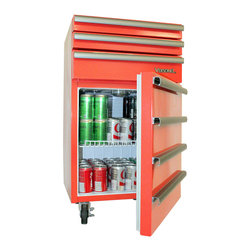 None - Versonel V17RTCR Red Portable Toolbox Mini Refrigerator - Perfect for garages,basements,or any area in need of a versatile refrigerator and toolbox,this decorative yet functional piece is an awesome accessory. The 1.7 cubic foot refrigerator complements three functional toolbox drawers.