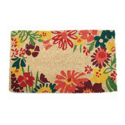Tag Everyday - Wildflowers 18X30 Coir Mat - Creates a welcoming entrance to your home. Bleached coir. They're stylish, functional and eco-friendly. Printed with pigment dyes. Best maintained under a protected area. Can be shaken, brushed or vacuumed clean. 18 in. x 30 in.