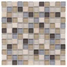 Tile SomerTile 12x12-in Reflections Square 1-in River Glass/Stone Mosaic Tile (Pack o