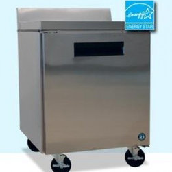 Hoshizaki - CRMF27-W Commercial Series Undercounter Freezer  Reach-in  One-Section  7.2-cu f - Commercial Series Undercounter Freezer Worktop Reach-in One-Section 72 cuft Self-Contained Refrig System stainless steel exterior front sides  top solid hinged door 1 adjustable shelves 4 4 stem casters 2 with brakes R-134A refrigerant 15 hp ENERGY S...