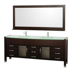 "Wyndham Collection - Daytona 78"" Espresso DBL Vanity, Green Glass Top, Green integral Sinks - The Daytona 78"" Double Bathroom Vanity Set - a modern classic with elegant, contemporary lines. This beautiful centerpiece, made in solid, eco-friendly zero emissions wood, comes complete with Mrr and choice of counter for any decor. From fully extending drawer glides and soft-close doors to the 3/4"" glass or marble counter, quality comes first, like all Wyndham Collection products. Doors are made with fully framed glass inserts, and back paneling is standard. Available in gorgeous contemporary Cherry or rich, warm Espresso (a true Espresso that's not almost black to cover inferior wood imperfections). Transform your bathroom into a talking point with this Wyndham Collection original design, only available in limited numbers. All counters are pre-drilled for single-hole faucets, but stone counters may have additional holes drilled on-site."