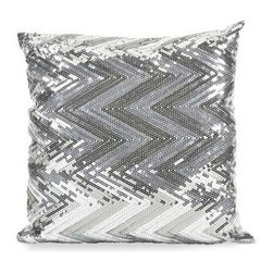 Estradin Silver Sequin Chevron Pillow - Strikingly bold, this silver sequin chevron pillow adds shimmering brilliance and pattern to any modern glam or sophisticated space.