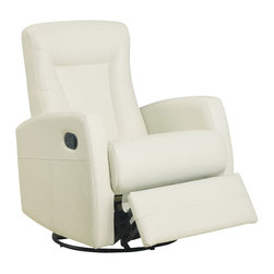 Monarch Specialties - Monarch Specialties 8082IV Swivel Rocker Recliner in Ivory Leather - This contemporary design accent chair combines 3 functional elements.....it swivels......it rocks.....and it reclines, ensuring that you are always in a comfortable position. This ivory bonded leather chair with a contoured back and seat was designed for ultimate comfort. Whether reading a book or watching sports this will be the chair that everyone will want to sit on. The easy glide motion and the contemporary design makes it a chic and fashionable addition for your den, bedroom, living room or basement. It truly is a chair for any room in your home.
